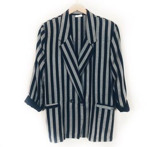 Oversized 1980's Black and Gray Striped Jacket